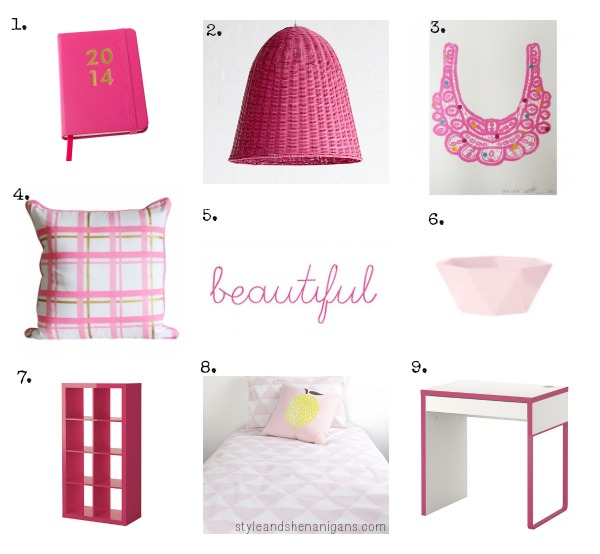 Beautiful Pink Home Wares Collage