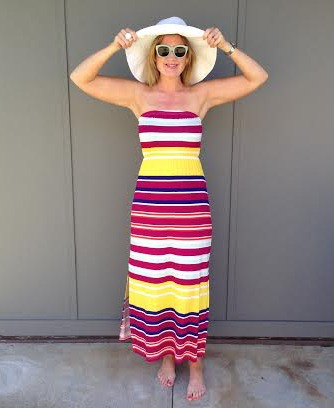 Style and Shenanigans in Target yellow striped dress