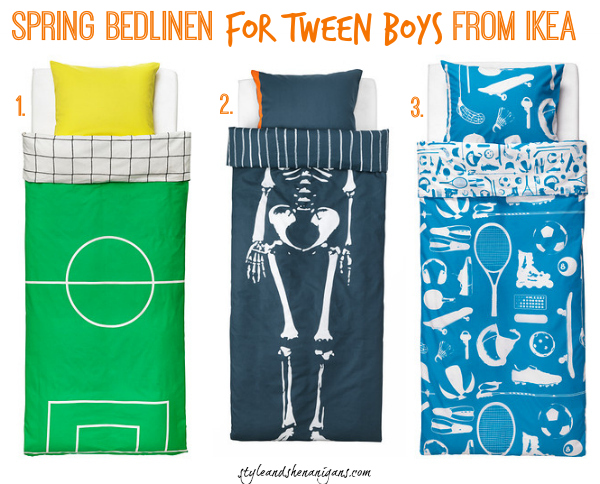 Style and Shenanigans Spring Bed Linen for Tween Boys from IKEA