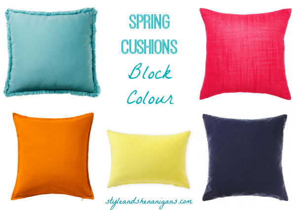 Style and Shenanigans Spring Cushions Block Colour