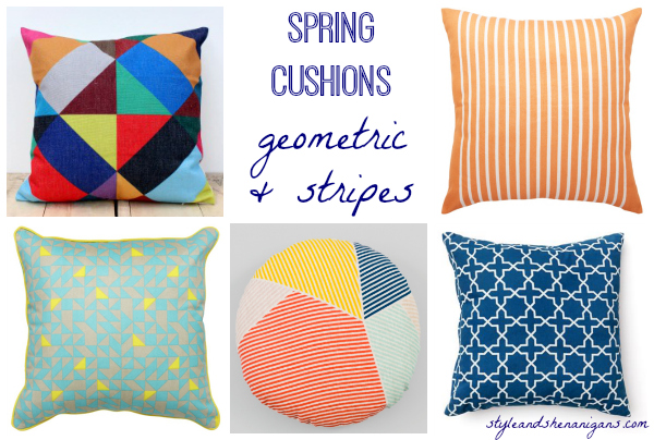 Style and Shenanigans Spring Cushions - Geo & Stripes