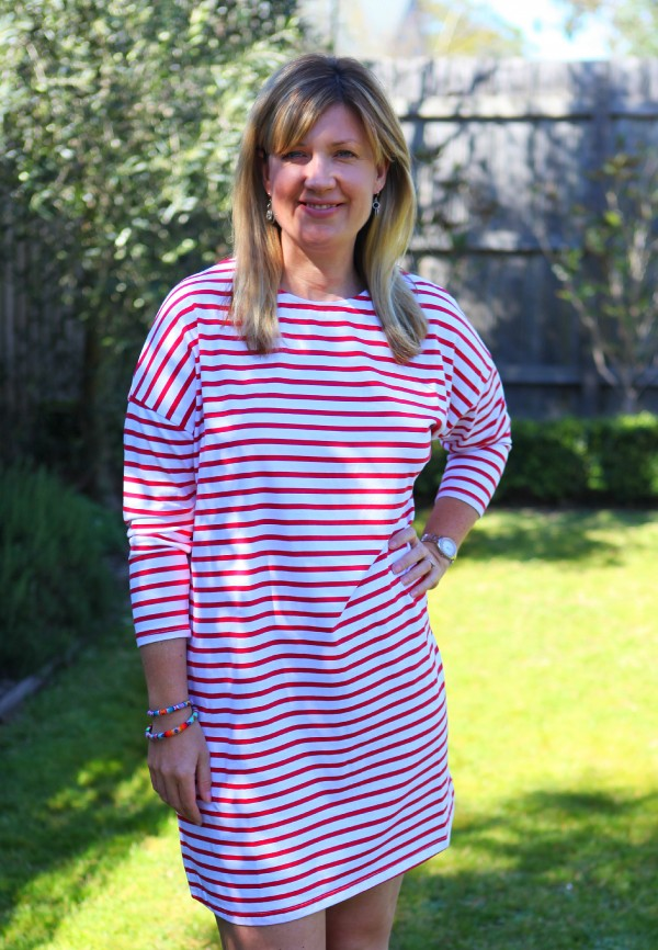 Style and Shenanigans wearing Bohemian Traders L:S Striped Dress