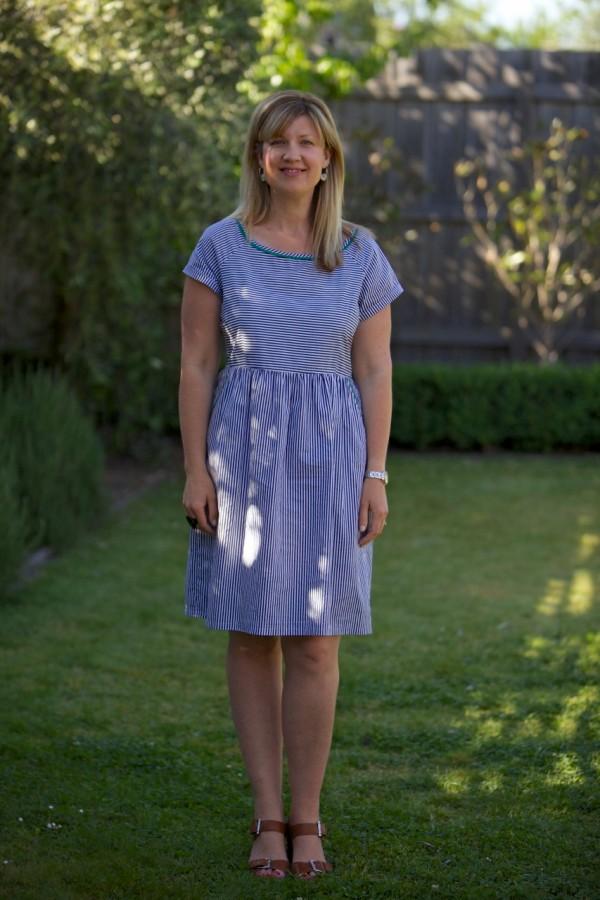 S & S wearing Kindling Striped Dress