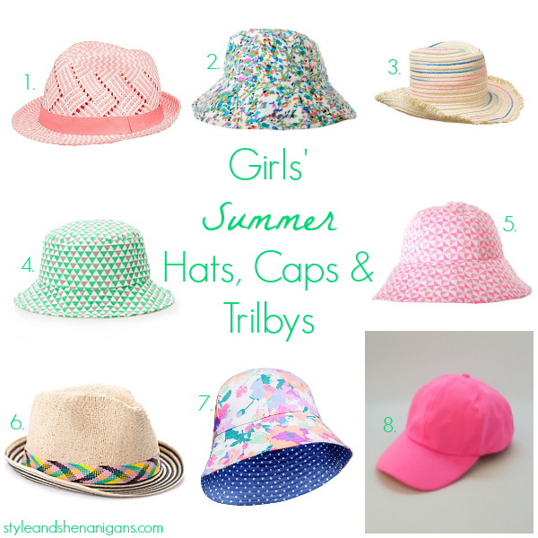 Style and Shenanigans Girls Summer Hats, Caps and Trilbys