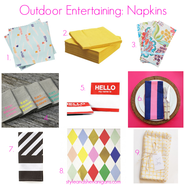 Style and Shenanigans Outdoor Entertaining- Napkins