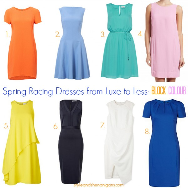 Style and Shenanigans- Spring Racing dresses from Luxe to Less - Block Colour