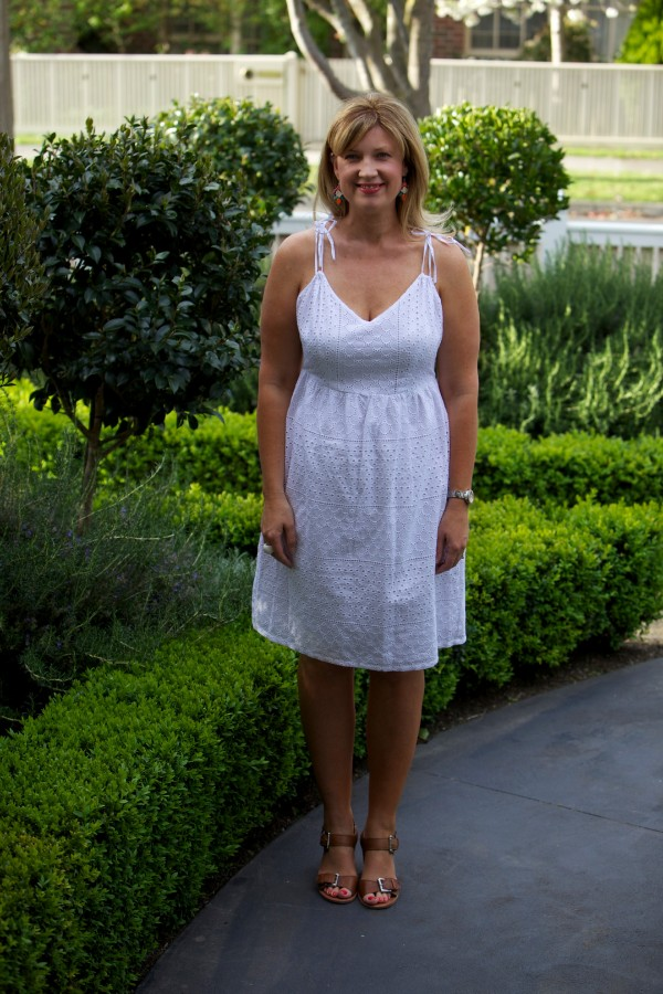 Style and Shenanigans Wearing MIX apparel white eyelet dress