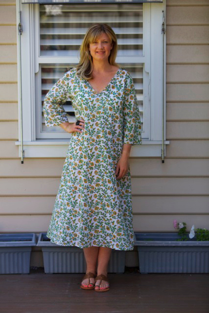Style and Shenanigans wearing Bohemian Traders Boheme Dress in Vine