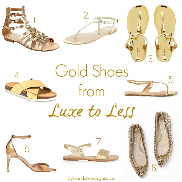 Style and Shenanigans Gold Shoes from Luxe to Less