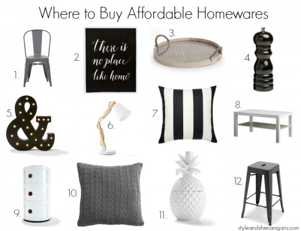Where to Buy Affordable Homewares - Monochrome