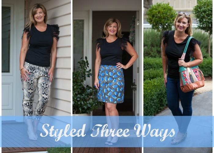 Styled Three Ways – The Collection Feather Sleeved Tee from Seed