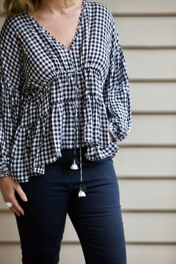 6a3ddbea45 ... Gingham Billow Sleeve Blouse  with my high waisted black denim jeans  (also from Bohemian Traders earlier this year
